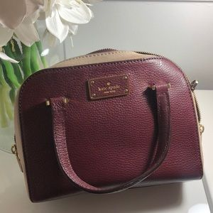 KATE SPADE MERLOT AND BEIGE LEATHER SATCHEL SMALL